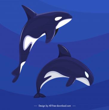 dolphin background motion sketch dark blue design