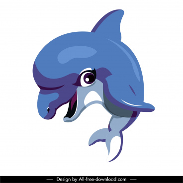 dolphin icon colored cartoon character sketch cute design