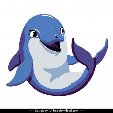 dolphin icon cute colored cartoon character sketch