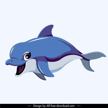 dolphin icon dynamic design cute cartoon sketch