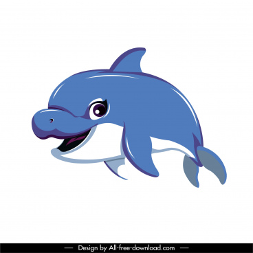 dolphin icon dynamic sketch cute cartoon character