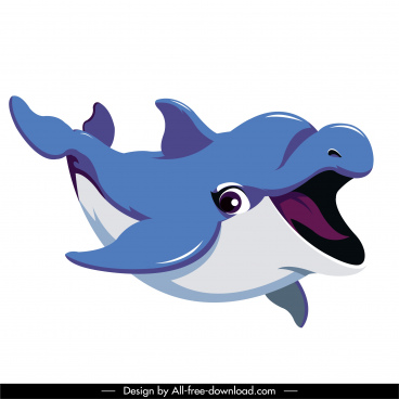 dolphin icon funny cartoon character sketch