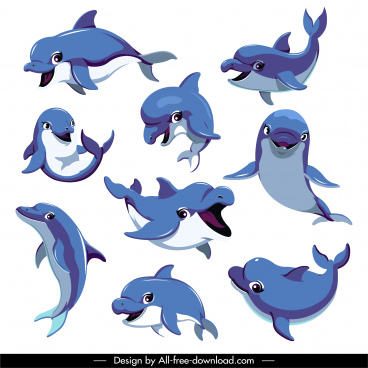 dolphin icons funny cartoon design motion sketch