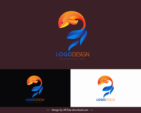 dolphin logo template colored motion sketch