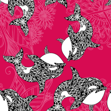 dolphin with sea seamless pattern vector