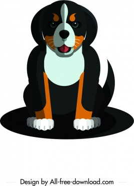 domestic dog icon black brown design cartoon character