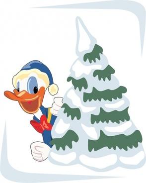donald duck cartoon style vector