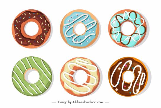 donut design elements flat circle sketch