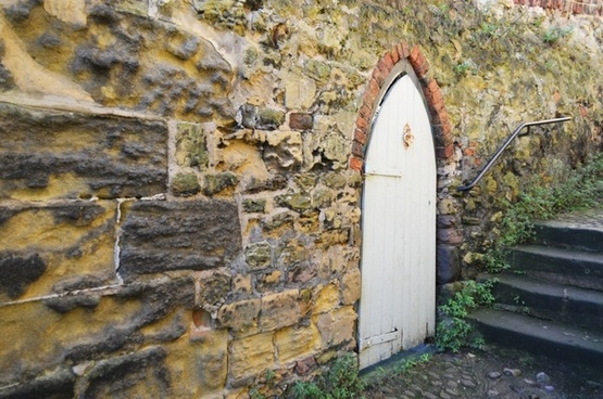 door and stone wall