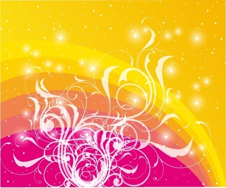 sparkling stars background yellow red design curves decoration