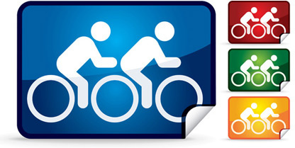double bike icon vector