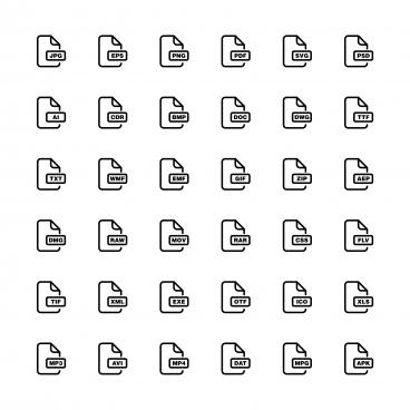 download files set line art icon vector template illustration design