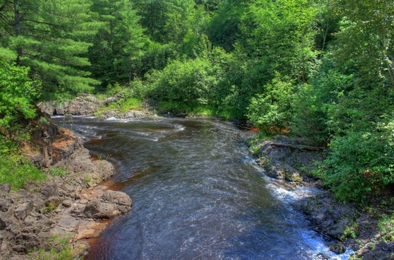 downstream on the bad river at copper falls state park wisconsin