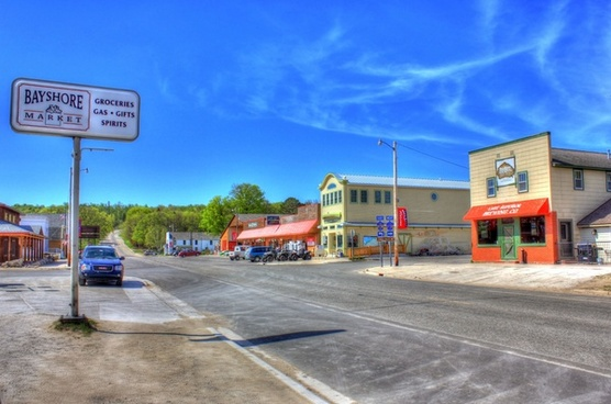 downtown grand marais in the upper peninsula michigan
