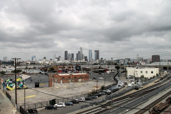 downtown los angeles surrounded by urban buildings
