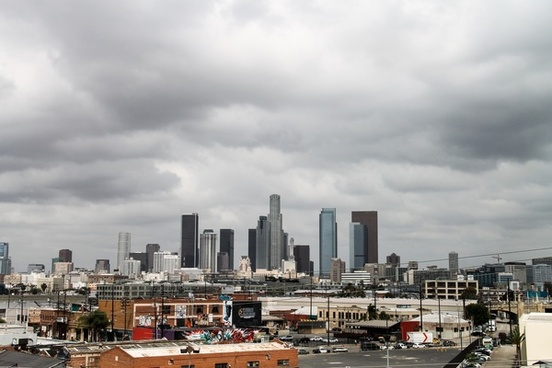 downtown los angeles under cloudy sky