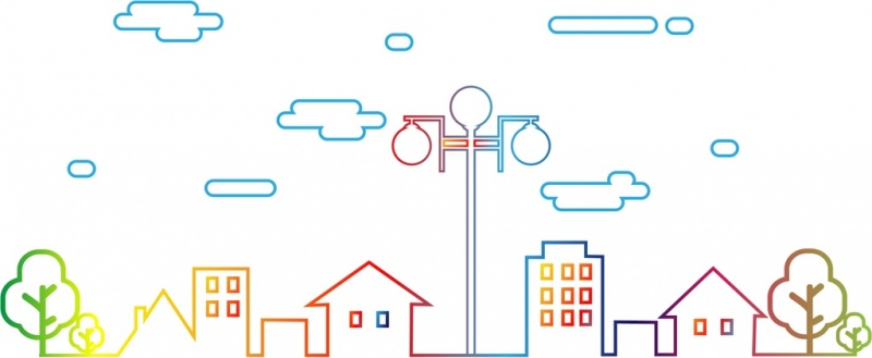downtown outline flat colorful style various houses decoration