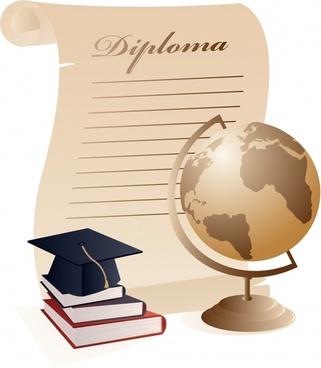 university education background books globe diploma icons decor