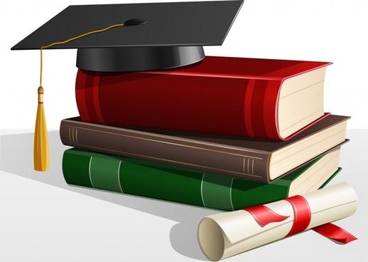 graduation background educational elements modern 3d realistic design