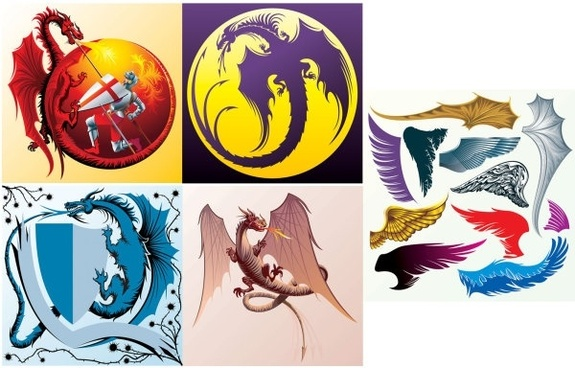 dragon amp wings vector