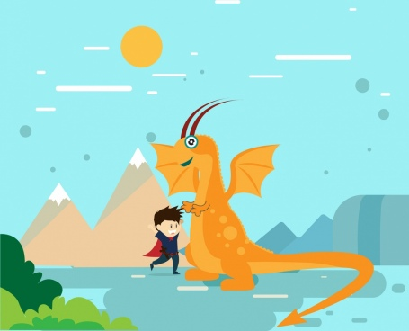 dragon and hero background colored cartoon style