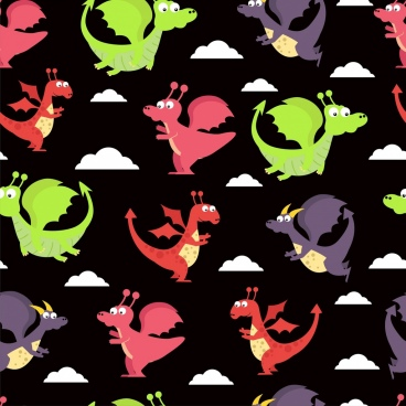 dragon background colorful cartoon design repeating style