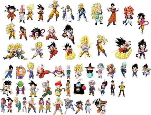 dragon ball characters icons color cartoon sketch