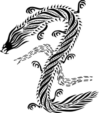 Dragon chinese style black & white