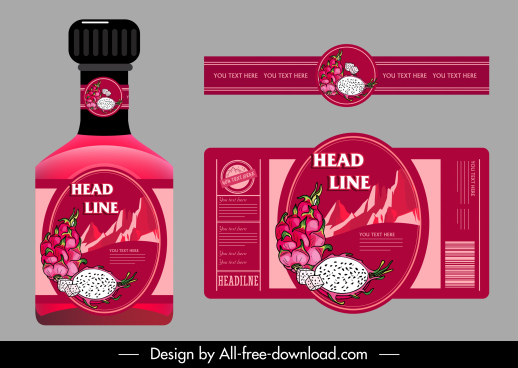 dragon fruit label template handdrawn dark red decor