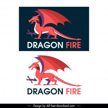 dragon icon european style flat classic sketch