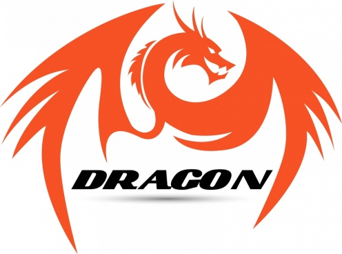 dragon icon orange hand drawn style