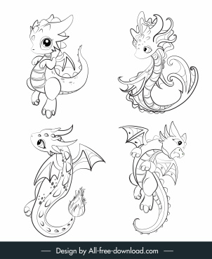 dragon icons cute cartoon sketch black white handdrawn
