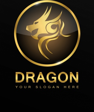 dragon logotype yellow shiny decoration circle design