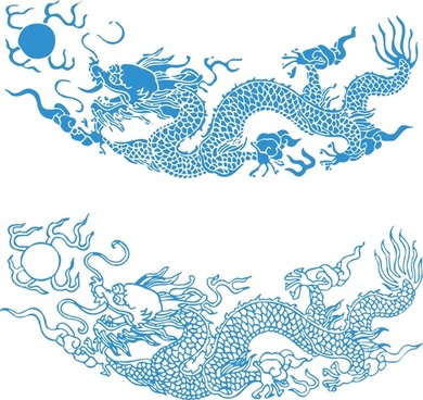 asian dragon painting classical blue sketch