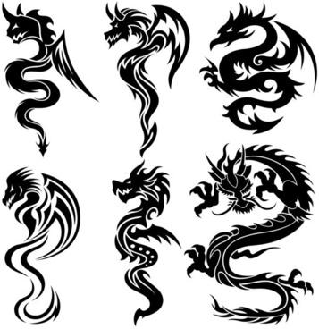 dragonshaped pattern 07 vector