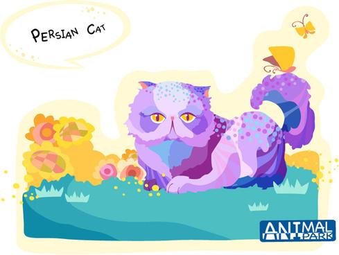 draw persian cat vector