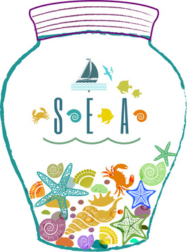 drawing bottle of the sea life