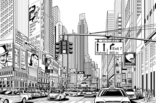 drawing city buildings and scenery vector