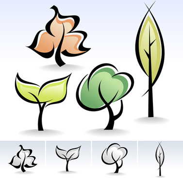 drawing cute tree vector graphics