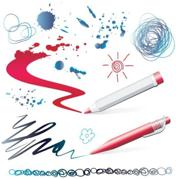 writing work design elements pen strokes grunge marks