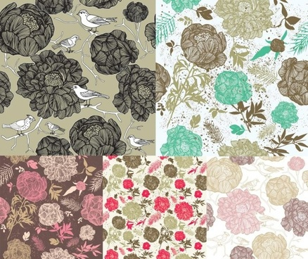 drawing flowers background design elements