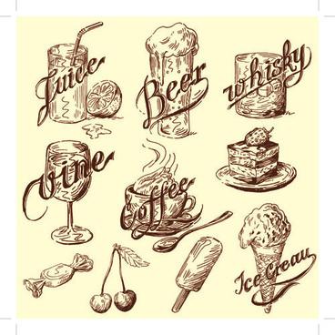 drawing foods retro illustrations vector