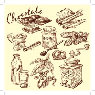 drawing foods retro illustrations vector