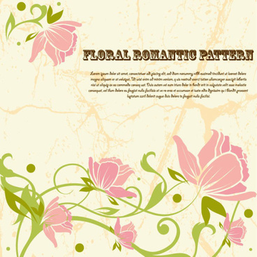 drawing romantic floral vector background