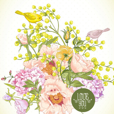 drawing spring flower vector background art