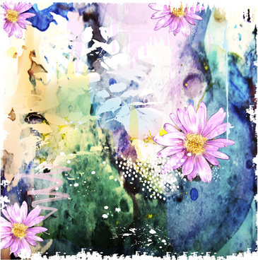 drawn watercolor flower art background vector set