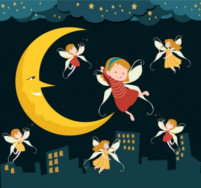 dream background angle girls stylzied crescent cartoon characters