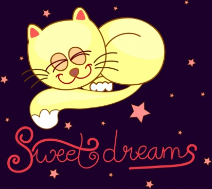 dream background cute cat icon cartoon design