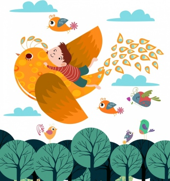 dream background flying birds icons colored cartoon design