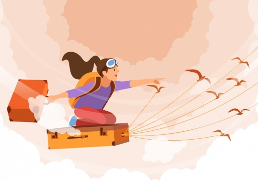 dream background flying girl suitcases birds cartoon design